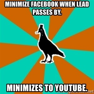 QA Pigeon - Minimize facebook when lead passes by. minimizes to youtube.