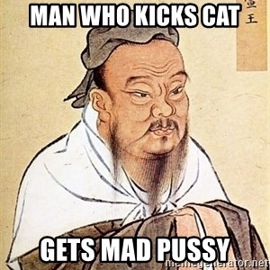 Confucious - Man who kicks cat gets mad pussy
