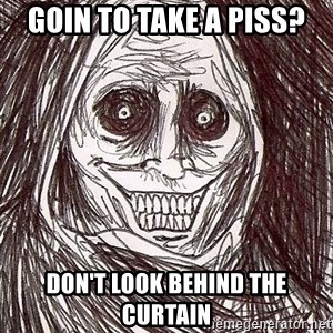 Never alone ghost - Goin to take a piss? Don't look behind the curtain