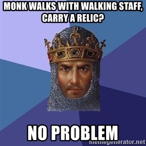 Age Of Empires - monk walks with walking staff, carry a relic? No problem