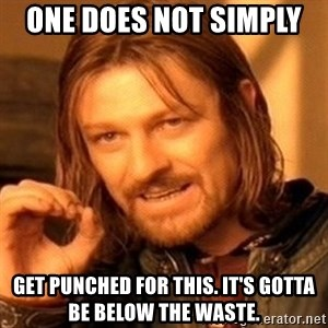 One Does Not Simply - One Does not simply  Get punched for this. it's gotta be below the waste.