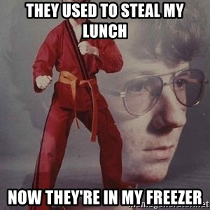 PTSD Karate Kyle - they used to steal my lunch now they're in my freezer