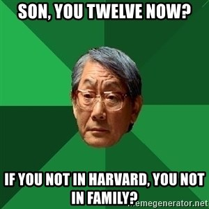High Expectations Asian Father - Son, you twelve now? IF you not in Harvard, You not in family?