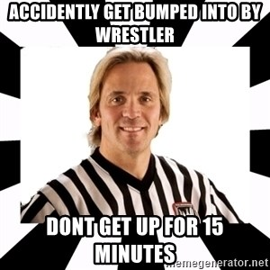 WWE referee - Accidently get bumped into by  wrestler dont get up for 15 minutes