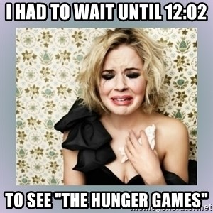 "Crying Girl - i had to wait until 12:02 to see ""the hunger games"""