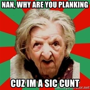 Crazy Old Lady - nan, why are you planking cuz im a sic cunt