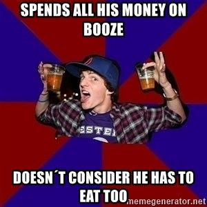 Sunny Student - Spends all his money on booze doesn´t consider he has to eat too
