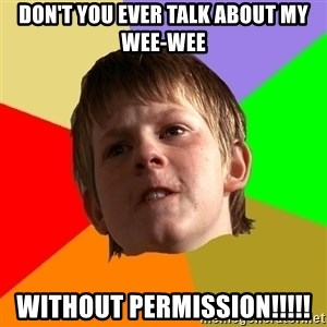 Angry School Boy - DOn't you ever talk about my wee-wee without permission!!!!!