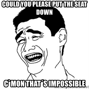 Asian Troll Face - COULD YOU PLEASE PUT THE SEAT DOWN C`MON THAT´S IMPOSSIBLE