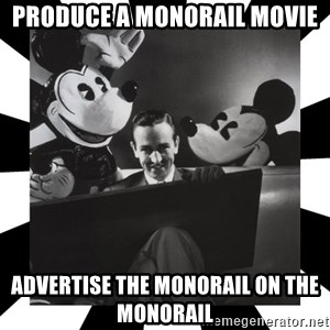 Sinister Walt - PRODUCE A MONORAIL MOVIE ADVERTISE THE MONORAIL ON THE MONORAIL