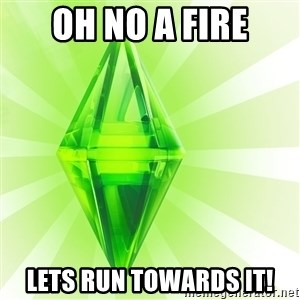 Sims - oh no a fire lets run towards it!