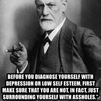 freud - Before you diagnose yourself with depression or low self esteem, first make sure that you are not, in fact, just surrounding yourself with assholes.""