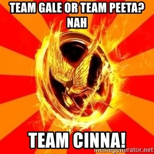 Typical fan of the hunger games - Team gale or team peeta? nah team cinna!