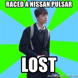 Impeccable School Child - Raced a nissan pulsar lost