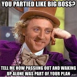 Willy Wonka - You partied like Big Boss? Tell me how passiing out and waking up alone was part of your plan