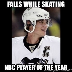sidney crosby - FALLS WHILE SKATING NBC PLAYER OF THE YEAR