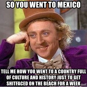 Willy Wonka - so you went to mexico tell me how you went to a country full of culture and history just to get shitfaced on the beach for a week