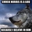 wolf banderson - chuck norris is a god because i believe in him