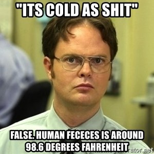 "Dwight Schrute - ""its cold as shit"" FALSe. human fececes is around 98.6 degrees FAHRENHEIT"