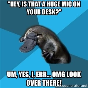 "Podfic Platypus - ""HEY, is that a huge mic on your desk?"" Um, yes, I, err... OMG LOOK OVER THERE!"
