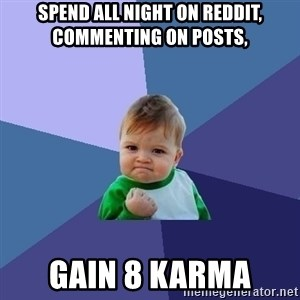 Success Kid - Spend all night on reddit, commenting on posts, Gain 8 karma