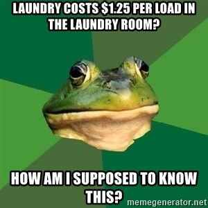 Foul Bachelor Frog - laundry costs $1.25 per load in the laundry room? how am I supposed to know this?