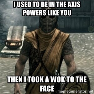 skyrim whiterun guard - i used to be in the axis powers like you then i took a wok to the face