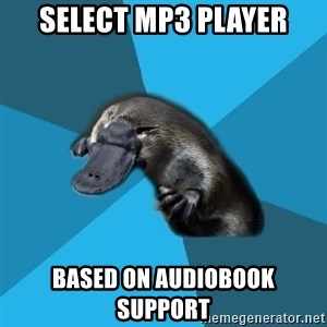 Podfic Platypus - select mp3 player based on audiobook support