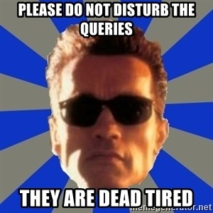 Terminator 2 - please do not disturb the queries they are dead tired