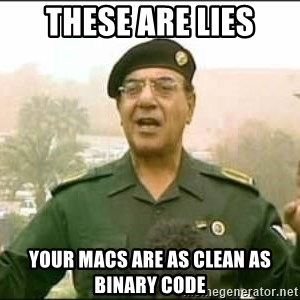 Iraqi Information Minister - These are lies Your macs are as clean as binary code