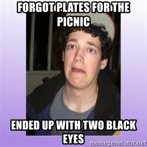 Desperate Boyfriend - fORGOT plates for the picnic ended up with two black eyes
