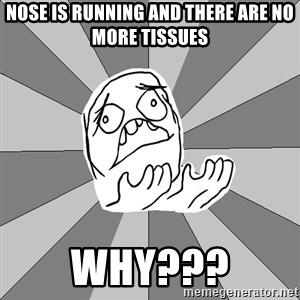 Whyyy??? - nose is running and there are no more TISSUES  why???