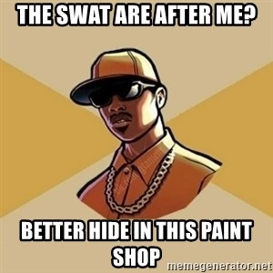 Gta Player - the swat are after me? better hide in this paint shop