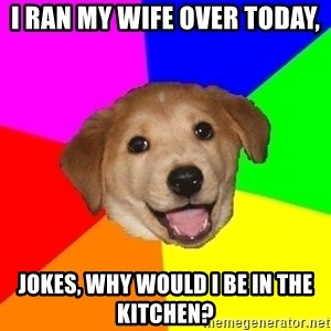 Advice Dog - i ran my wife over today, jokes, why would i be in the kitchen?