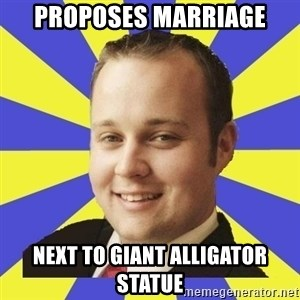 Smuggar - proposes marriage next to giant alligator statue