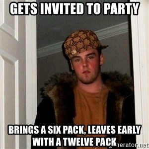 Scumbag Steve - gets invited to party brings a six pack, leaves early with a twelve pack