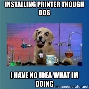 Chemistry Dog - INstalling printer though dos  I have no idea what im doing