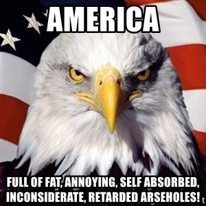 American Pride Eagle - America Full of fat, annoying, self absorbed, inconsiderate, retarded arseholes!