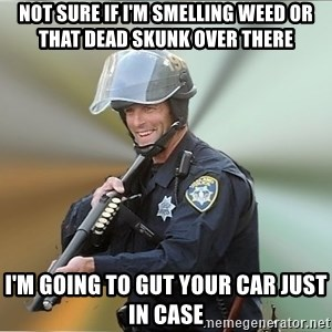 Happyfuncop - not sure if i'm smelling weed or that dead skunk over there i'm going to gut your car just in case