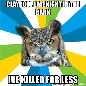 Old Navy Owl - claypool latenight in the barn ive killed for less