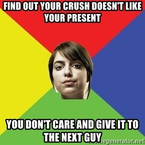 Non Jealous Girl - find out your crush doesn't like your present you don't care and give it to the next guy