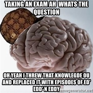 Scumbag Brain - taking an exam ah  whats the question oh yeah i threw that knowlegde ou and replaced it with episodes of Ed' Edd' n Eddy