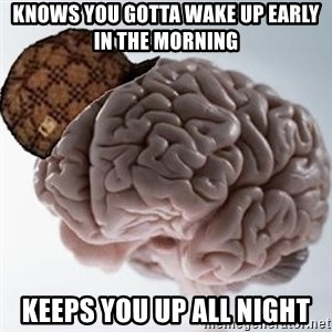 Scumbag Brain - knows you gotta wake up early in the morning keeps you up all night