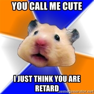 Hamster - you call me cute i just think you are retard