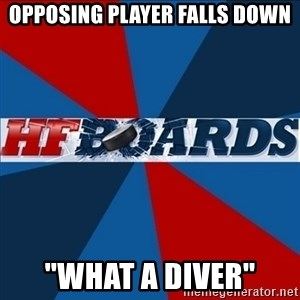 """HFboards  - Opposing Player Falls down """"what a diver"""""""
