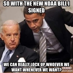 Obama Biden Concerned - so with the new NDAA bill i signed we can really lock up whoever we want whenever we want?