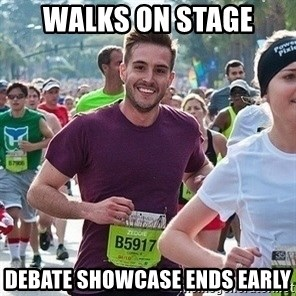 Ridiculously photogenic guy (Zeddie) - Walks on stage debate showcase ends early