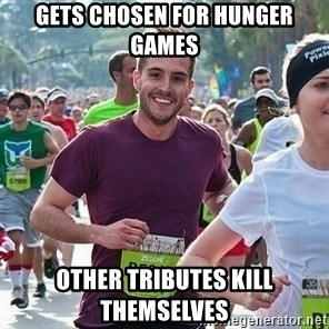 Ridiculously photogenic guy (Zeddie) - gets chosen for hunger games other tributes kill themselves
