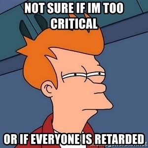 Futurama Fry - not sure if im too critical  or if everyone is retarded