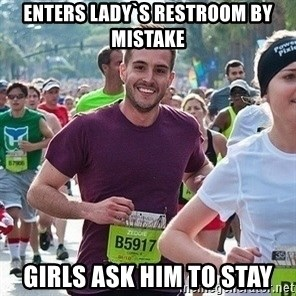 Ridiculously photogenic guy (Zeddie) - enters lady`s restroom by mistake girls ask him to stay